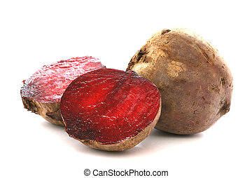 Two whole beetroots also called red beet on white background one cut