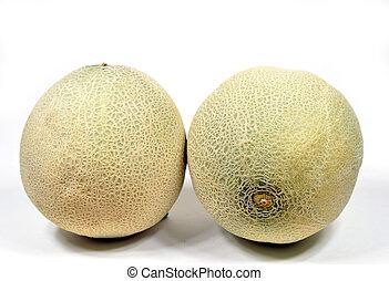 cantaloupe melon - Two whole cantaloupe melons on white...
