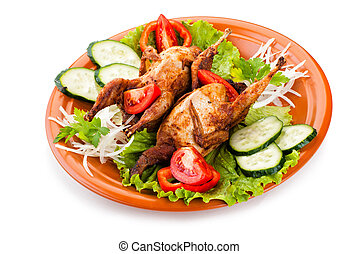 Two whole quail with cucumber, tomatoes and onion - Two...