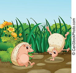Two wild animals near the weeds - Illustration of the two...
