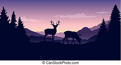 two wildlife reindeers on purple mountain and forest landscape