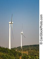 wind power generation - two wind power generation turbine...