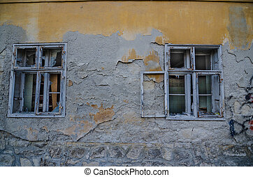 two windows in old house