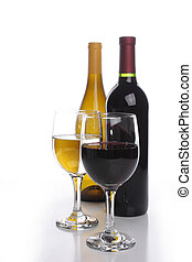 Two wine bottles with glasses - White and red wine bottles...