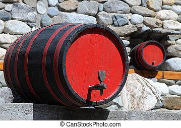 Two Wine Casks - Two wine casks in traditional restaurant in...