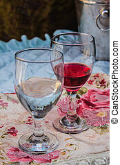 Two wine glasses