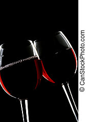 toasting - two wine glasses toasting