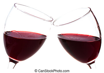 Two wineglasses with red wine