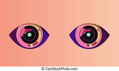 """A cheery 3d rendering of two artificial eyes with black pupils, rosy irises and blue retina. They wink and move up and down periodically in the pink backdrop. They have some spotty devices inside. """