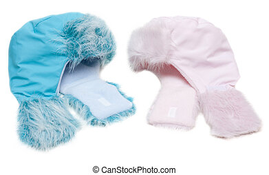 Two winter baby fur hats, rose and blue