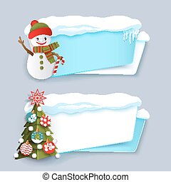 Two winter banner with Christmas tree, snowman