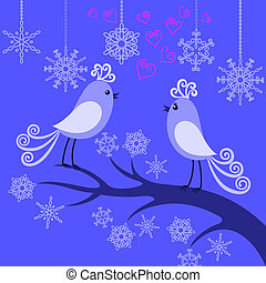 Two winter birds in love