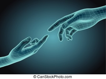 Two wireframe human hands pointing one each other modern...