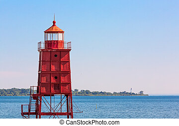 Two Wisconsin Lighthouses - Wisconsin's red Racine North...