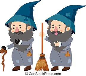 Two wizards with cane and magic broom