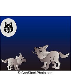 Two wolf puppies, howling at the full wolf moon, in a playful manner