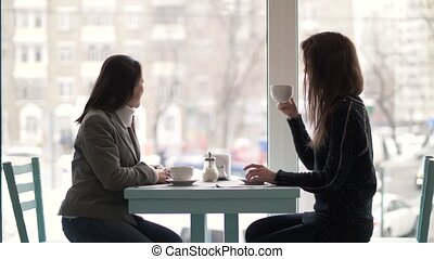 Two woman friends sitting at table and drinking coffee from...