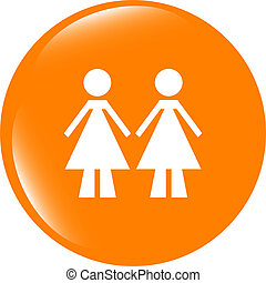 two woman glossy web icon on white background