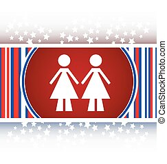 two woman glossy web icon on white background vector