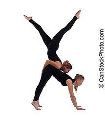 two woman gymnast in black show acrobatic exercise