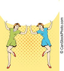 Two woman hold blank white paper poster. Pop art comic retro style vector illustration. Put your own text template