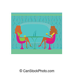 two woman silhouette in coffee break