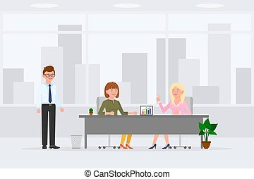Two woman sitting at desk, meeting, discussing, making decisions in office workplace vector illustration. Man assistant standing, girl and lady talking at table cartoon character