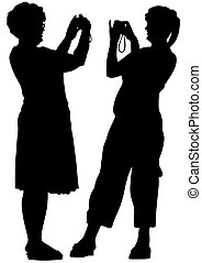 Two woman whit camera
