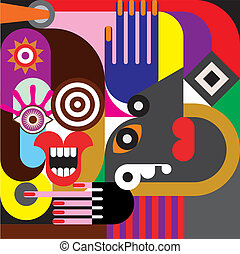 Two women abstract portrait - Two women portrait - color ...