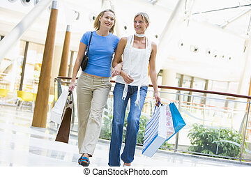 Two women at a shopping mall
