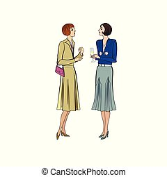 Two women conversation on party. Retro dress in vintage style 1930's.