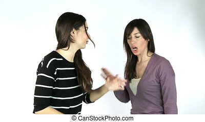 Two women discussing angry