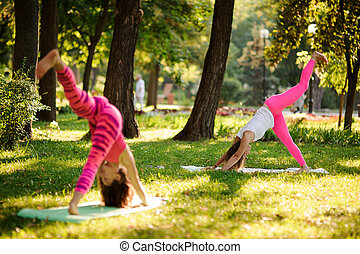 Two women doing yoga exercises on the grass in a park lifting leg up