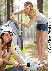 two women during camping