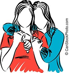 two women friends hugging vector illustration