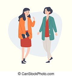 Two women friends talking to each other.