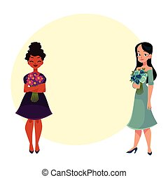 Two women, girls, black and Caucasian, holding bunches of flowers