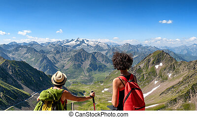 two women hikers on the trail of Pic du Midi de Bigorre in ...