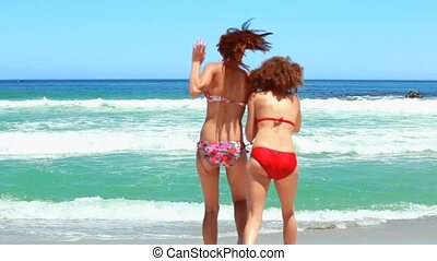 Two women in bikinis playing in the sea