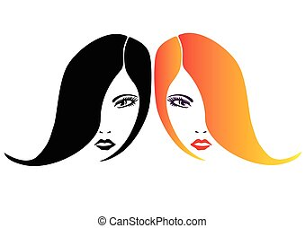 Two women isolated faces vector illustration