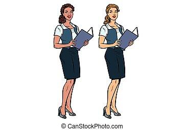 Two women Secretary-full-length, multi-ethnic group