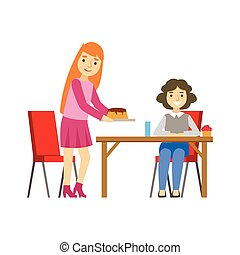 Two Women Sharing A Cake, Smiling Person Having A Dessert In Sweet Pastry Cafe Vector Illustration