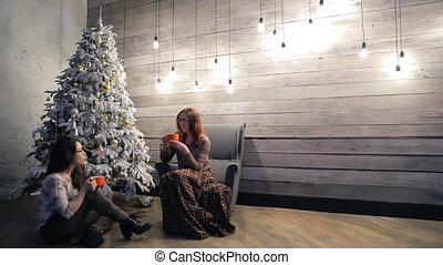 Two women sitting in cozy atmosphere of drinking tea on Christmas Eve