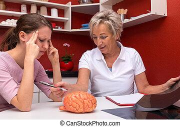 two women talking abaut brain diseases