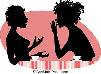 Two women talking - Vector illustration of two girls friends...