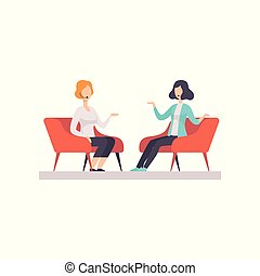Two women talking in a TV studio, television interview, talk show vector Illustration isolated