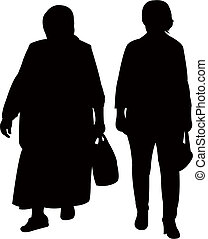 two women walking silhouette vector