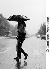 Two women walking under the rain