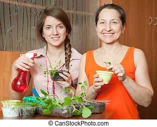 Two women with  sprouts