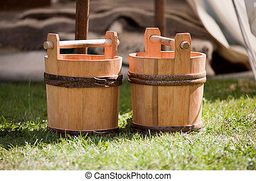 Two wooden buckets
